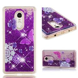 Purple Flower Butterfly Dynamic Liquid Glitter Quicksand Soft TPU Case for Xiaomi Redmi Note 4X