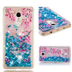 Blue Plum Blossom Dynamic Liquid Glitter Quicksand Soft TPU Case for Xiaomi Redmi Note 4X