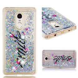 Smile Flower Dynamic Liquid Glitter Quicksand Soft TPU Case for Xiaomi Redmi Note 4X