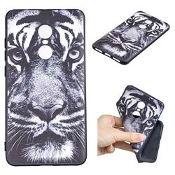 White Tiger 3D Embossed Relief Black TPU Cell Phone Back Cover for Xiaomi Redmi Note 4X