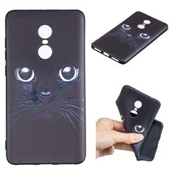 Bearded Feline 3D Embossed Relief Black TPU Cell Phone Back Cover for Xiaomi Redmi Note 4X