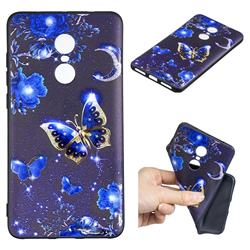 Phnom Penh Butterfly 3D Embossed Relief Black TPU Cell Phone Back Cover for Xiaomi Redmi Note 4X