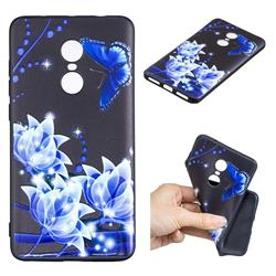 Blue Butterfly 3D Embossed Relief Black TPU Cell Phone Back Cover for Xiaomi Redmi Note 4X