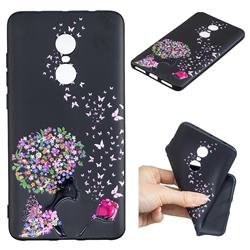 Corolla Girl 3D Embossed Relief Black TPU Cell Phone Back Cover for Xiaomi Redmi Note 4X