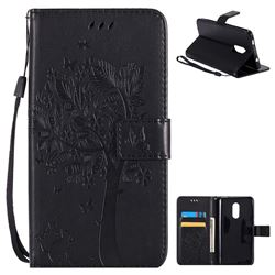 Embossing Butterfly Tree Leather Wallet Case for Xiaomi Redmi Note 4X - Black