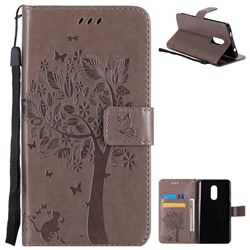 Embossing Butterfly Tree Leather Wallet Case for Xiaomi Redmi Note 4X - Grey