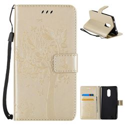 Embossing Butterfly Tree Leather Wallet Case for Xiaomi Redmi Note 4X - Champagne