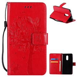 Embossing Butterfly Tree Leather Wallet Case for Xiaomi Redmi Note 4X - Red