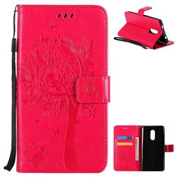 Embossing Butterfly Tree Leather Wallet Case for Xiaomi Redmi Note 4X - Rose