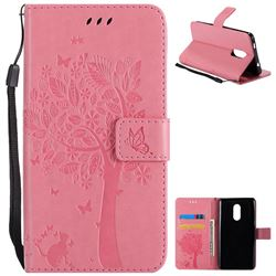 Embossing Butterfly Tree Leather Wallet Case for Xiaomi Redmi Note 4X - Pink