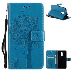 Embossing Butterfly Tree Leather Wallet Case for Xiaomi Redmi Note 4X - Blue