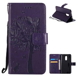 Embossing Butterfly Tree Leather Wallet Case for Xiaomi Redmi Note 4X - Purple