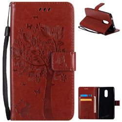 Embossing Butterfly Tree Leather Wallet Case for Xiaomi Redmi Note 4X - Brown