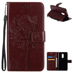 Embossing Butterfly Tree Leather Wallet Case for Xiaomi Redmi Note 4X - Coffee