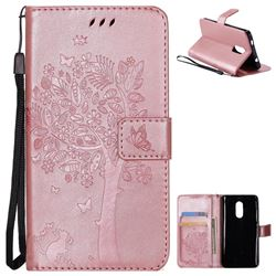 Embossing Butterfly Tree Leather Wallet Case for Xiaomi Redmi Note 4X - Rose Pink