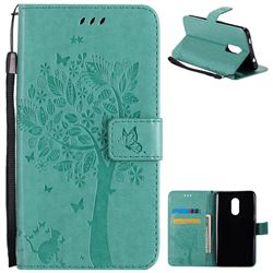Embossing Butterfly Tree Leather Wallet Case for Xiaomi Redmi Note 4X - Cyan