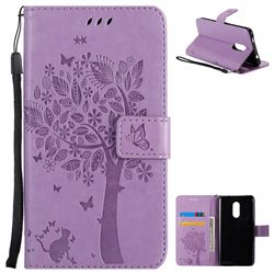 Embossing Butterfly Tree Leather Wallet Case for Xiaomi Redmi Note 4X - Violet