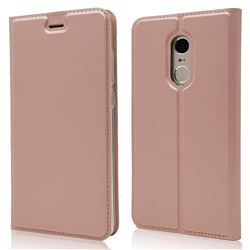 Ultra Slim Card Magnetic Automatic Suction Leather Wallet Case for Xiaomi Redmi Note 4X - Rose Gold