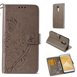 Embossing Butterfly Flower Leather Wallet Case for Xiaomi Redmi Note 4X - Grey