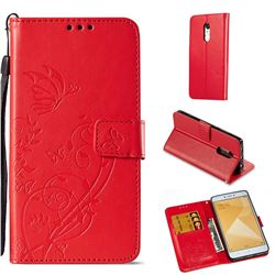 Embossing Butterfly Flower Leather Wallet Case for Xiaomi Redmi Note 4X - Red