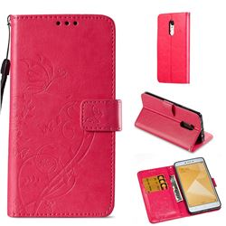 Embossing Butterfly Flower Leather Wallet Case for Xiaomi Redmi Note 4X - Rose