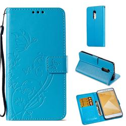 Embossing Butterfly Flower Leather Wallet Case for Xiaomi Redmi Note 4X - Blue