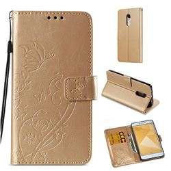 Embossing Butterfly Flower Leather Wallet Case for Xiaomi Redmi Note 4X - Champagne