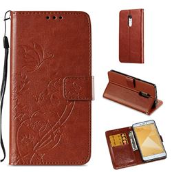 Embossing Butterfly Flower Leather Wallet Case for Xiaomi Redmi Note 4X - Brown