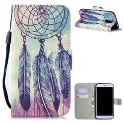 Feather Wind Chimes 3D Painted Leather Wallet Phone Case for Xiaomi Redmi Note 4X
