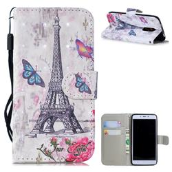 Paris Tower 3D Painted Leather Wallet Phone Case for Xiaomi Redmi Note 4X