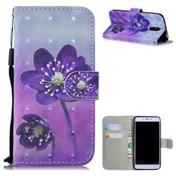 Purple Flower 3D Painted Leather Wallet Phone Case for Xiaomi Redmi Note 4X