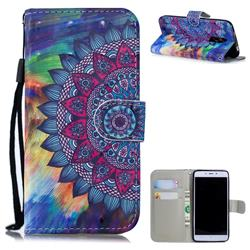 Oil Painting Mandala 3D Painted Leather Wallet Phone Case for Xiaomi Redmi Note 4X