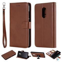 Retro Greek Detachable Magnetic PU Leather Wallet Phone Case for Xiaomi Redmi Note 4X - Brown