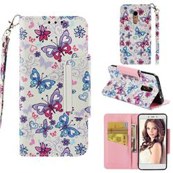 Colored Butterfly Big Metal Buckle PU Leather Wallet Phone Case for Xiaomi Redmi Note 4X