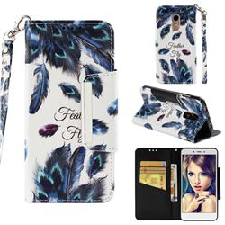 Peacock Feather Big Metal Buckle PU Leather Wallet Phone Case for Xiaomi Redmi Note 4X