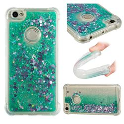 Dynamic Liquid Glitter Sand Quicksand TPU Case for Xiaomi Redmi Note 5A - Green Love Heart