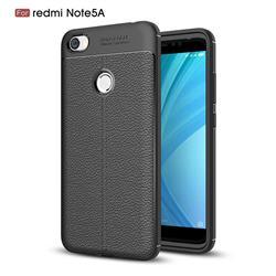 Luxury Auto Focus Litchi Texture Silicone TPU Back Cover for Xiaomi Redmi Note 5A - Black