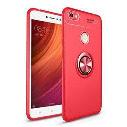 Auto Focus Invisible Ring Holder Soft Phone Case for Xiaomi Redmi Note 5A - Red