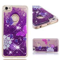 Purple Flower Butterfly Dynamic Liquid Glitter Quicksand Soft TPU Case for Xiaomi Redmi Note 5A