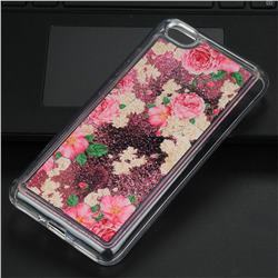 Rose Flower Glassy Glitter Quicksand Dynamic Liquid Soft Phone Case for Xiaomi Redmi Note 5A