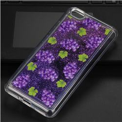 Purple Grape Glassy Glitter Quicksand Dynamic Liquid Soft Phone Case for Xiaomi Redmi Note 5A