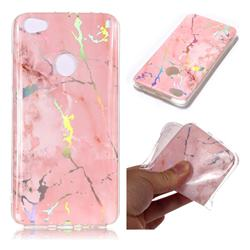 Powder Pink Marble Pattern Bright Color Laser Soft TPU Case for Xiaomi Redmi Note 5A