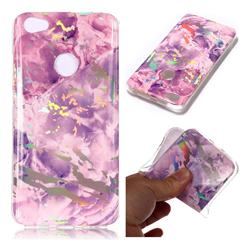 Purple Marble Pattern Bright Color Laser Soft TPU Case for Xiaomi Redmi Note 5A