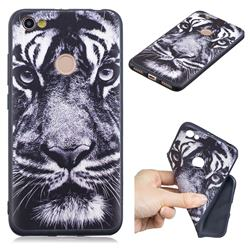 White Tiger 3D Embossed Relief Black TPU Cell Phone Back Cover for Xiaomi Redmi Note 5A