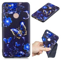 Phnom Penh Butterfly 3D Embossed Relief Black TPU Cell Phone Back Cover for Xiaomi Redmi Note 5A