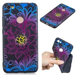 Colorful Lace 3D Embossed Relief Black TPU Cell Phone Back Cover for Xiaomi Redmi Note 5A