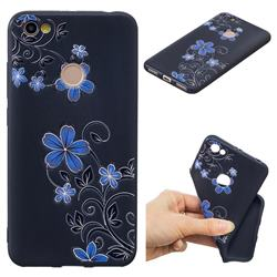 Little Blue Flowers 3D Embossed Relief Black TPU Cell Phone Back Cover for Xiaomi Redmi Note 5A