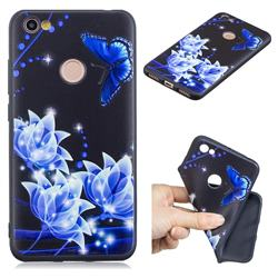 Blue Butterfly 3D Embossed Relief Black TPU Cell Phone Back Cover for Xiaomi Redmi Note 5A