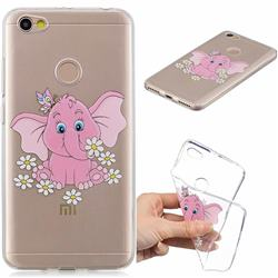 Tiny Pink Elephant Clear Varnish Soft Phone Back Cover for Xiaomi Redmi Note 5A