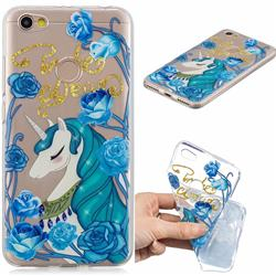 Blue Flower Unicorn Clear Varnish Soft Phone Back Cover for Xiaomi Redmi Note 5A
